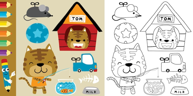 Funny cat cartoon with its toys Premium Vector