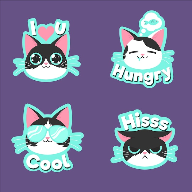 Funny cat sticker collection drawing Free Vector