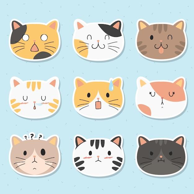 Funny cats stickers vector set Premium Vector