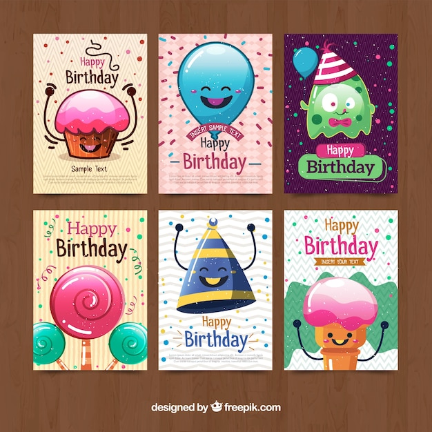Funny character birthday cards collection Vector – Birthday Card Collection