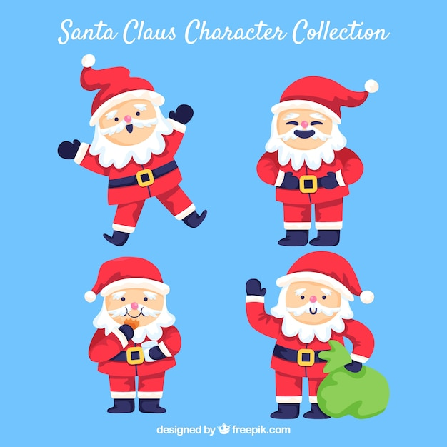 Funny characters of santa claus