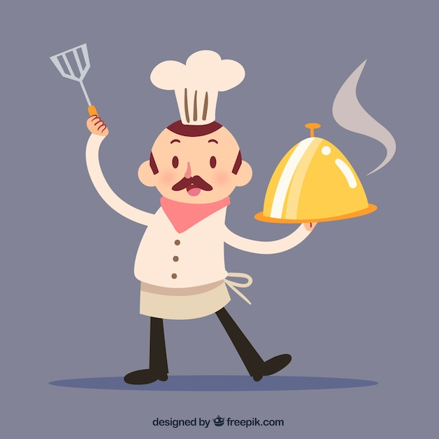 Funny Chef With Kitchen Utensils Vector Free Download
