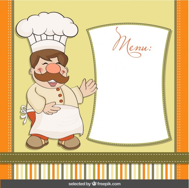Funny Chef With Menu Template Vector | Free Download