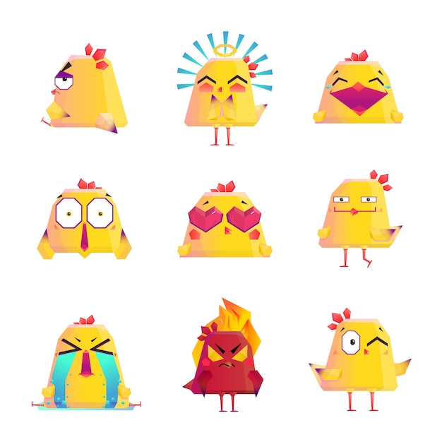 Funny chicken cartoon character icons set Free Vector