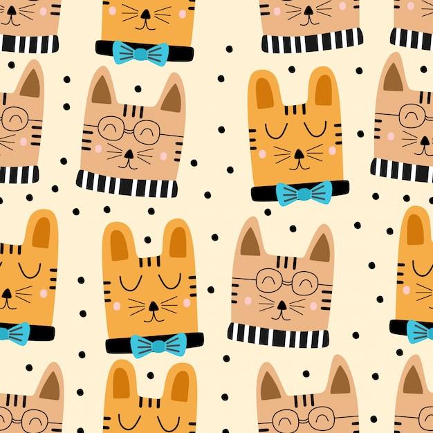 Funny childish cats cartoon seamless pattern Premium Vector