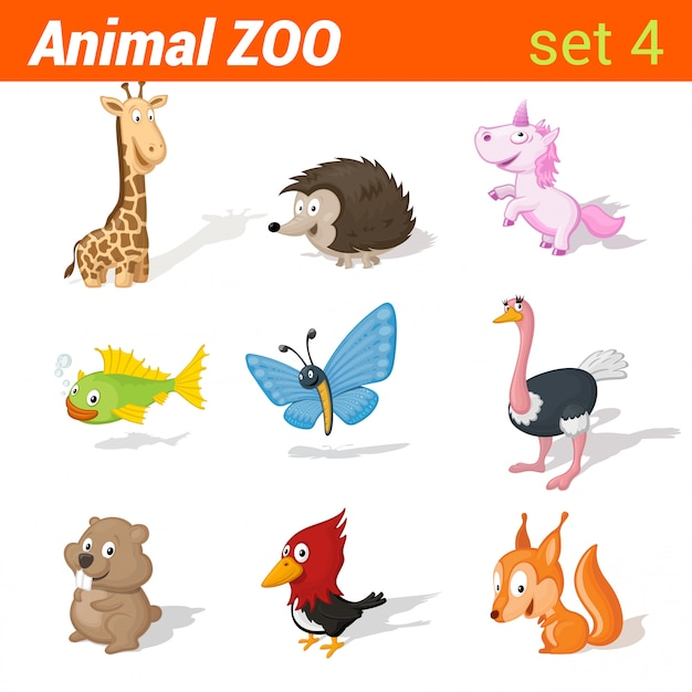 Funny children animals icon set. kid language learning elements. giraffe, hedgehog, unicorn, fish, butterfly, ostrich, hamster, woodpecker, squirrel. Free Vector