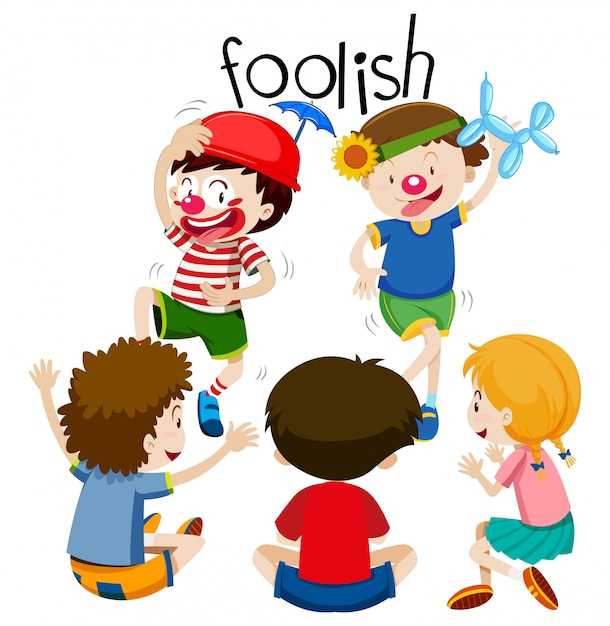 Funny children being foolish Free Vector