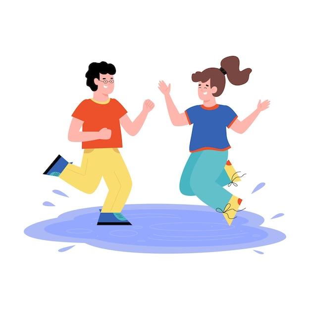 Веселые дети прыгают в луже. мальчик и девочка в летней одежде брызгают водой. активный отдых, досуг или отдых для детей. плоский мультфильм изолированных иллюстрация. Premium векторы