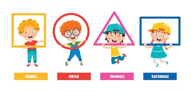 Funny children learning basic shapes Premium Vector