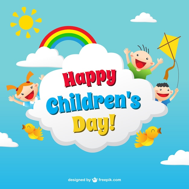 funny childrens day card in colorful style - Pics Children
