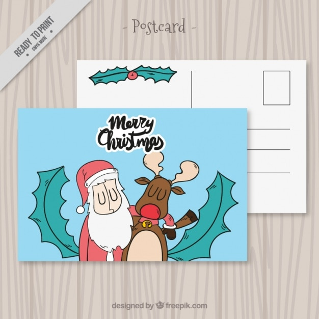 Funny christmas card with santa claus and reindeer