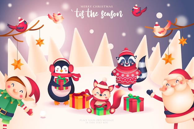 Funny christmas card with santa and friends Free Vector