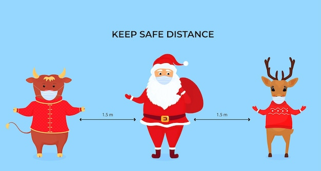 Funny christmas deer, ox and santa claus wear protective face masks. keep social distance. preventive measures during the coronavirus pandemic coivd-19. Premium Vector