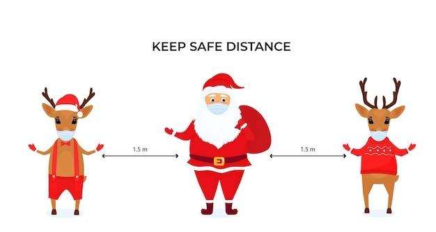 Funny christmas deer and santa claus wear protective face masks. keep social distance. preventive measures during the coronavirus pandemic coivd-19. Premium Vector