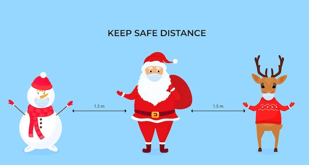 Funny christmas deer, snowman and santa claus wear protective face masks. keep social distance. preventive measures during the coronavirus pandemic coivd-19. Premium Vector