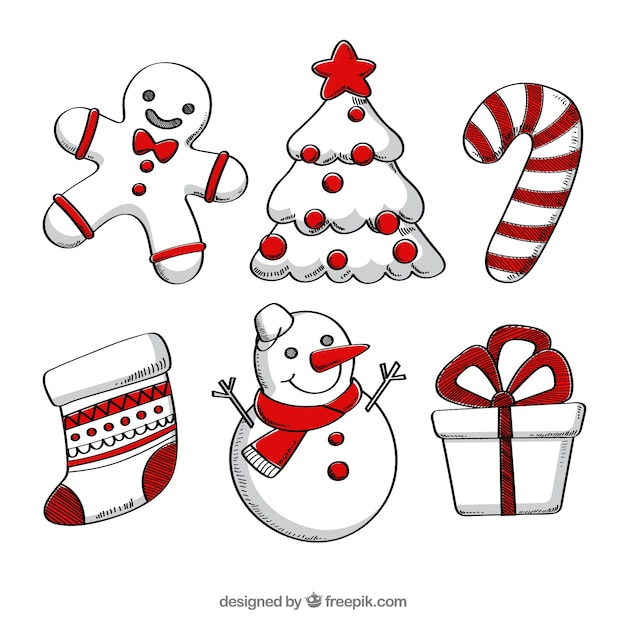 Funny christmas elements Vector | Free Download