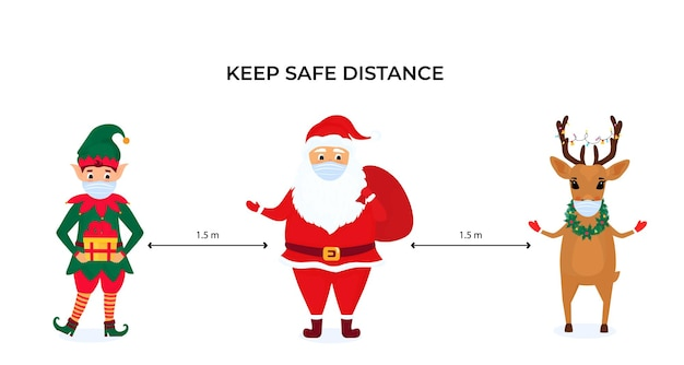 Funny christmas elf, deer and santa claus wear protective face masks. keep social distance. preventive measures during the coronavirus pandemic coivd-19. Premium Vector