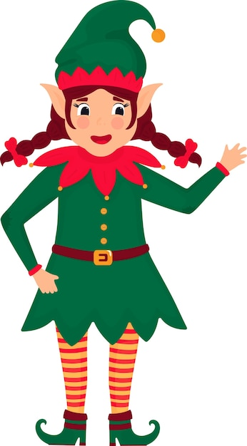 Funny christmas elf girl with pigtails. illustration. cartoon character. Premium Vector