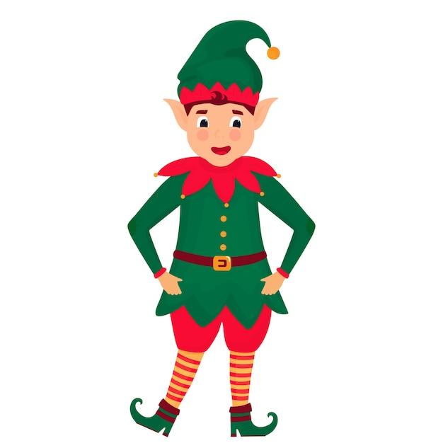 Funny christmas elf. illustration. cartoon character. Premium Vector