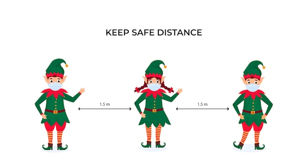 Funny christmas elves in protective face masks. keep social distance. preventive measures during the coronavirus pandemic coivd-19. Premium Vector