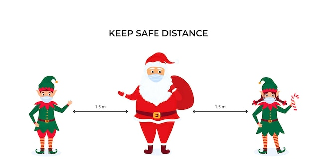 Funny christmas elves and santa claus wear protective face masks. keep social distance. preventive measures during the coronavirus pandemic coivd-19. Premium Vector