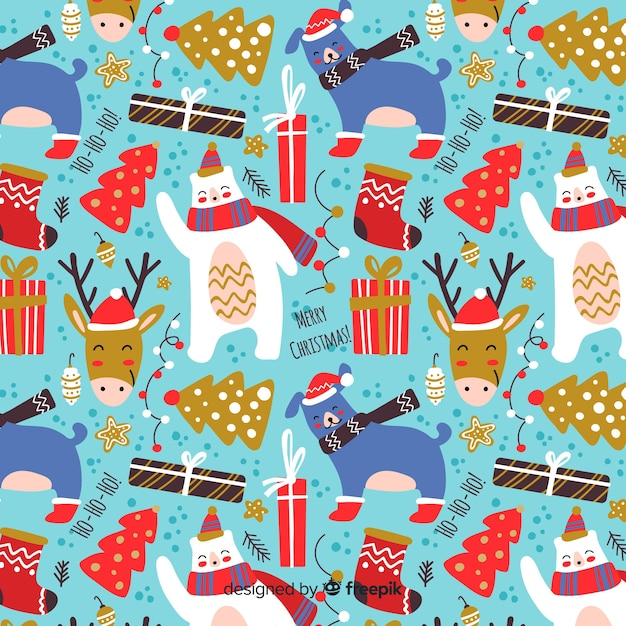 Funny christmas flat design pattern Free Vector
