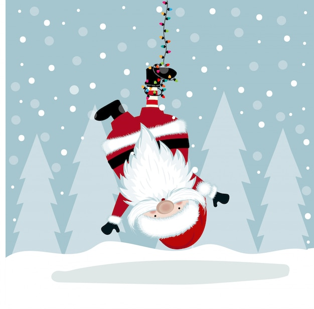Funny christmas illustration with hanging santa Premium Vector