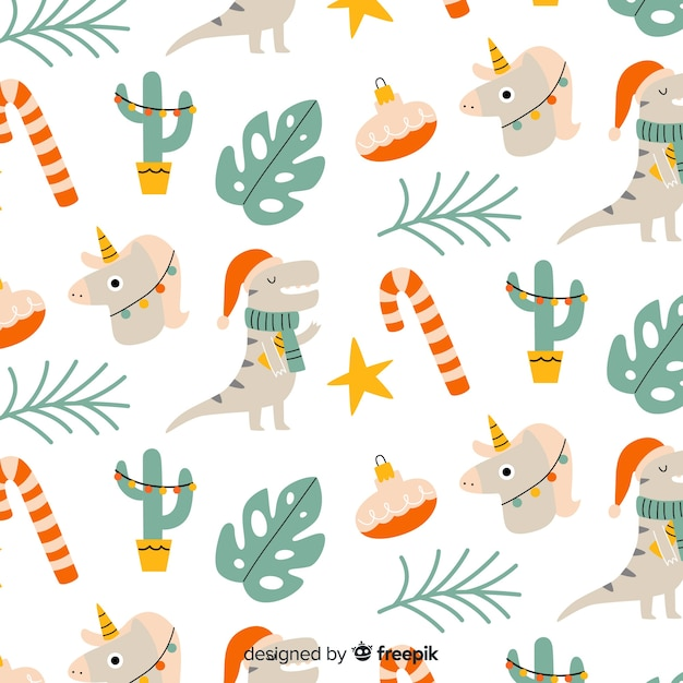 Funny christmas pattern background Free Vector