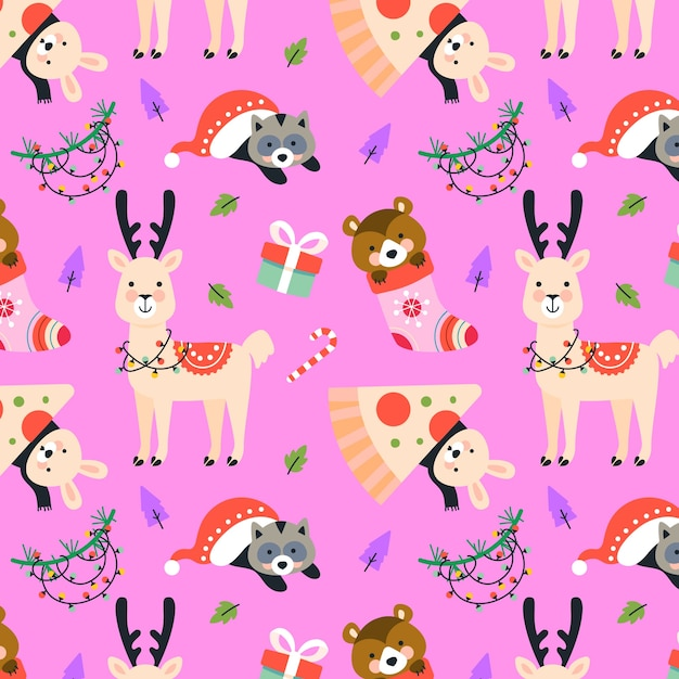 Funny christmas pattern collection Free Vector