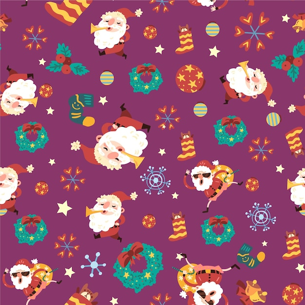 Funny christmas pattern concept Premium Vector