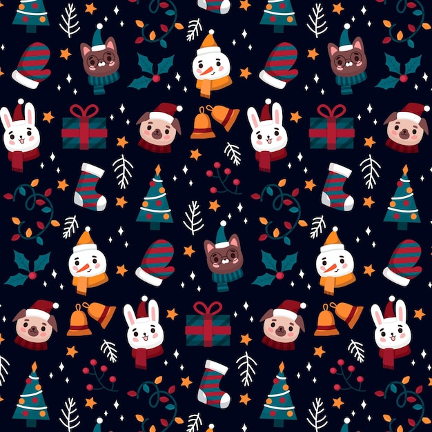 動物と雪だるまと面白いクリスマスパターン Premiumベクター