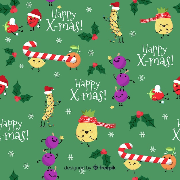 Funny christmas pattern with candy Free Vector