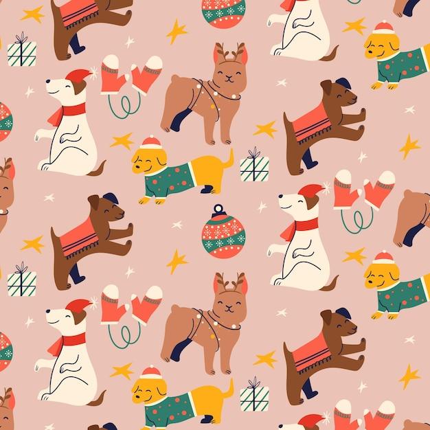 귀여운 동물들과 함께 재미있는 크리스마스 패턴 프리미엄 벡터