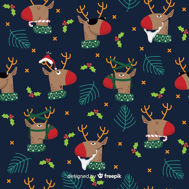 Funny christmas pattern with reindeers Free Vector