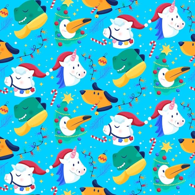 ユニコーンと面白いクリスマスパターン 無料ベクター