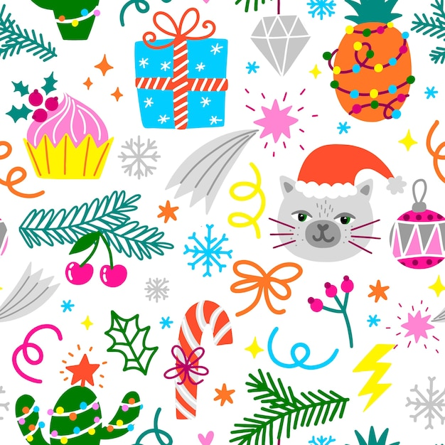 Funny christmas pattern Free Vector