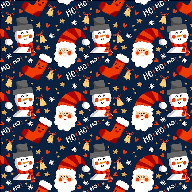 Funny christmas pattern Premium Vector