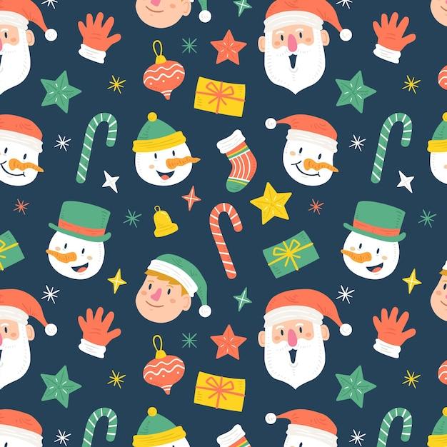 Divertente motivo natalizio Vettore gratuito