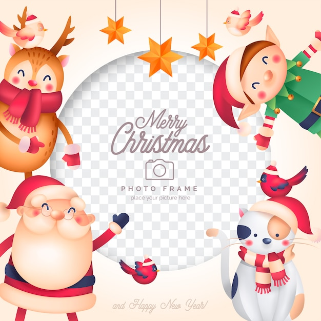 Funny christmas photo frame with santa and his friends Free Vector