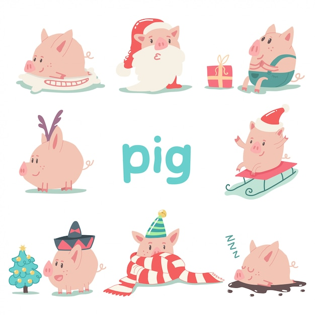 Funny christmas pig cartoon character set isolated animal symbol of 2019 chinese new year. Premium Vector