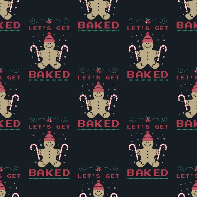 Funny christmas seamless pattern, graphic print for ugly sweater xmas party, decoration with gingerbread man and candy. Premium Vector