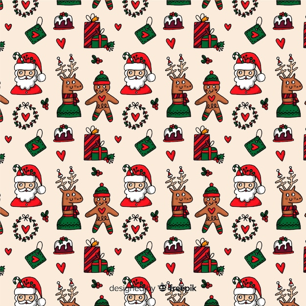 Funny christmas seamless pattern with santa claus Free Vector
