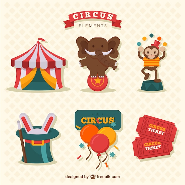 Funny circus elements collection Free Vector