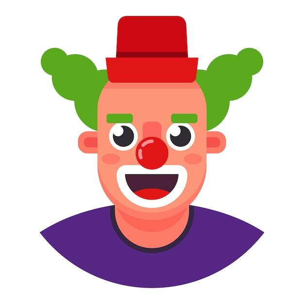 Смешной клоун голова улыбается. плоский характер векторные иллюстрации. Premium векторы