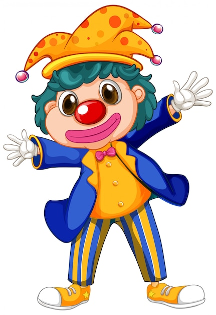 Funny clown wearing big shoes and jacket Free Vector