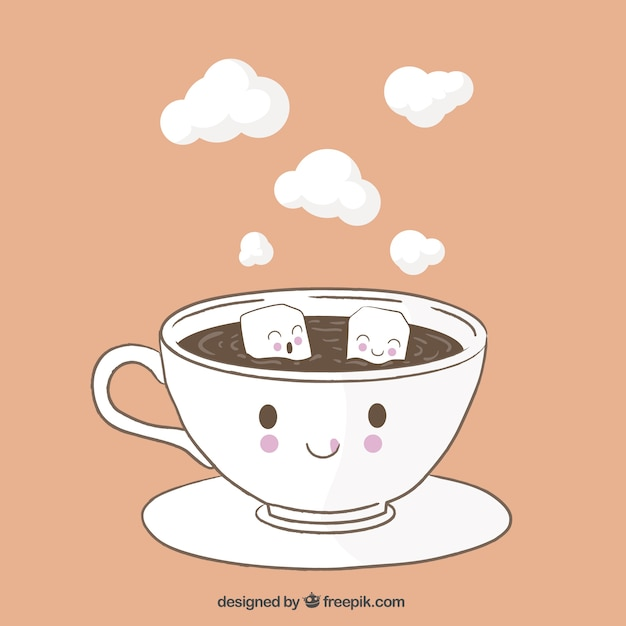 Funny Coffee Cup Vector Free Download