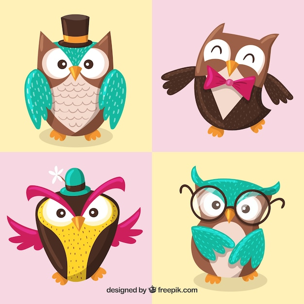 Funny collection of cartoon owls