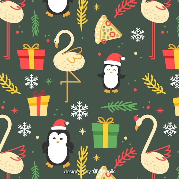Funny colorful christmas pattern Free Vector