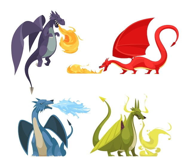 Funny colorful fire breathing dragons 4 icons concept with purple red green blue monsters cartoon Free Vector