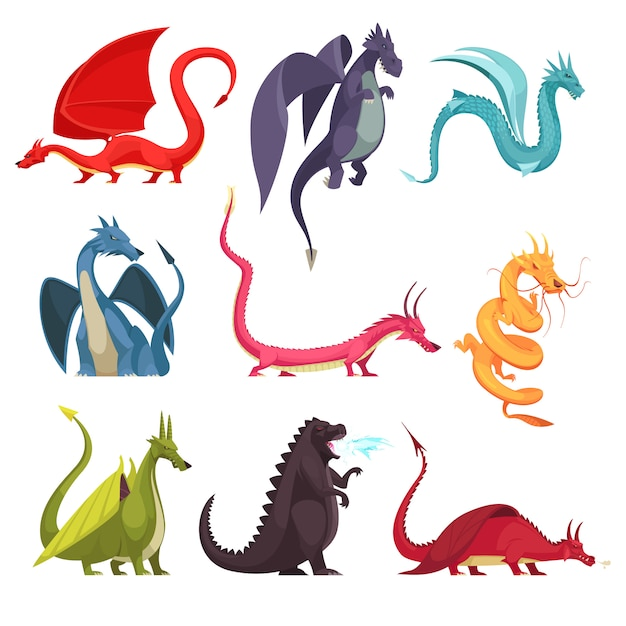 Смешные красочные огнедышащие драконы монстры странные змеиные существа плоские мультфильм иконки набор изолированных Бесплатные векторы